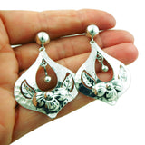 Large Flower 925 Sterling Silver Drop Earrings Gift Boxed