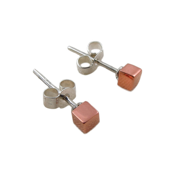 925 Silver and Copper Square Stud Earrings