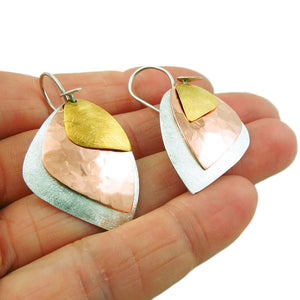 Copper, 925 Silver and Gold Guillermo Arregui Taxco Triple Drop Earrings