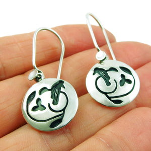 Nightingale Bird 925 Sterling Silver Circle Drop Earrings Gift Boxed