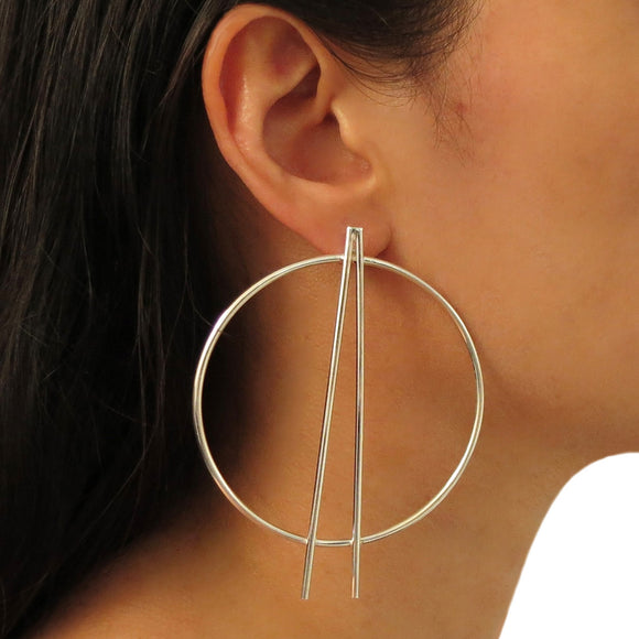 Large Hoops 925 Sterling Silver Circle Earrings Gift Boxed