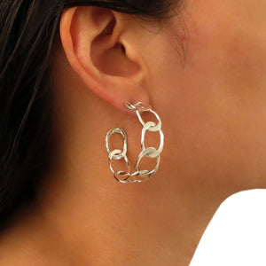 Wide Curb Chain 925 Silver Circle Hoop Earrings