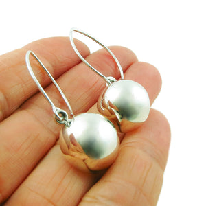Long Threader 925 Sterling Silver Half Ball Bead Drop Earrings Gift Boxed