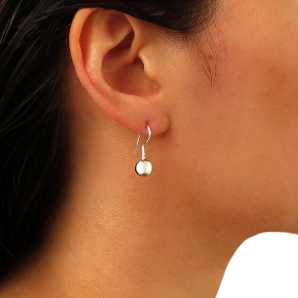 Stylish Polished 925 Silver Ball Bead Drop Earrings Gift Boxed