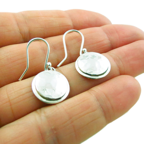 Hammered Circle Drop 925 Sterling Silver Earrings Gift Boxed