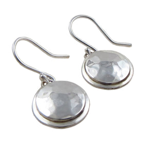 Hammered Circle Drop 925 Sterling Silver Earrings in a Gift Box