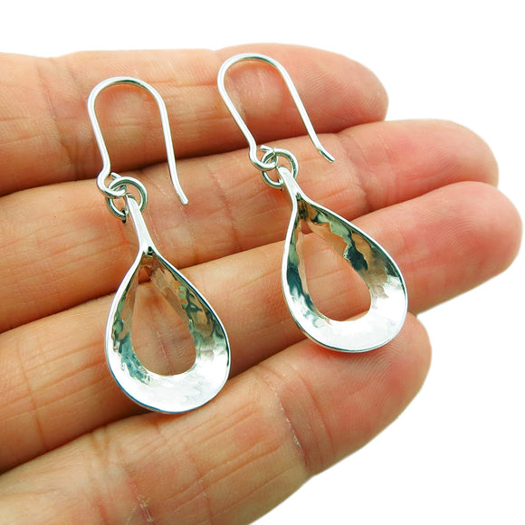 Hammered Solid 925 Sterling Silver Drop Earrings