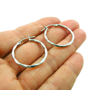 Twisted Hoop 925 Sterling Silver Circle Earrings