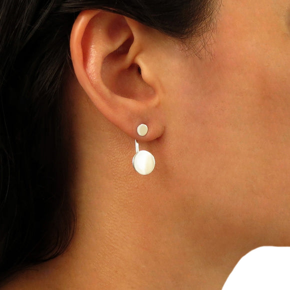 Circle Drop 925 Sterling Silver Ear Jacket Earrings