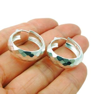 Wide Hoops 925 Sterling Silver Circle Earrings