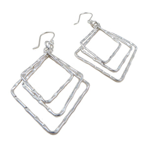 Long Triple Drop 925 Sterling Silver Earrings in a Gift Box