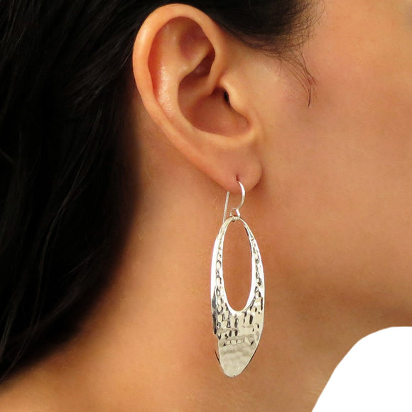 Long Solid 925 Sterling Silver Textured Drop Earrings