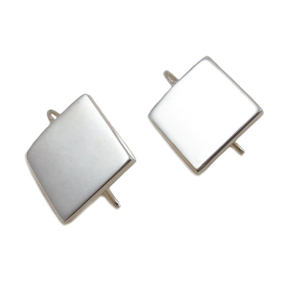 Square Solid 925 Sterling Silver Drop Earrings Gift Boxed