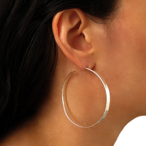 Large Hoops 925 Sterling Silver Flat Circle Earrings