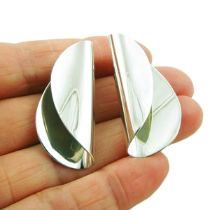 Curved 925 Sterling Silver Polished Earrings in a Gift Box