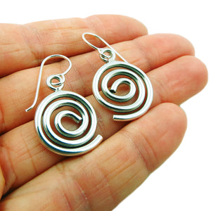 Spiral 925 Sterling Silver Circle Drop Earrings in a Gift Box
