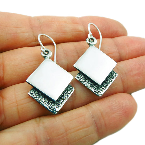 Two Tone Square Drop 925 Taxco Silver Earrings in a Gift Box