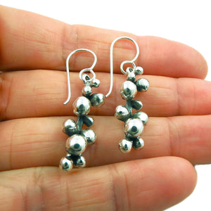 Vine Cluster 925 Sterling Taxco Silver Stick Drop Earrings