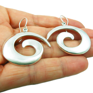 Wide Curved Spiral 925 Sterling Silver Earrings