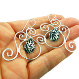 Large Spiral 925 Sterling Silver Animal Print Drop Earrings Gift Boxed