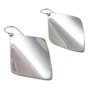 Curved 925 Sterling Silver Drop Earrings Gift Boxed