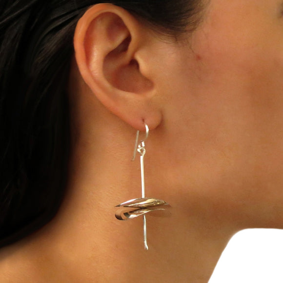 Exclusive Circle and Stick 925 Sterling Silver Drop Earrings