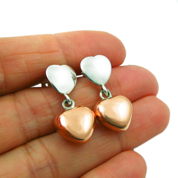 Copper and 925 Silver Love Heart Drop Earrings in a Gift Box