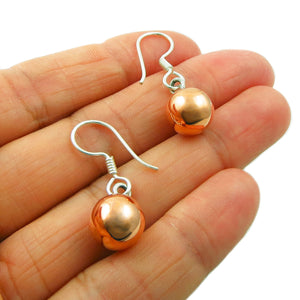 Copper and Silver Ball Bead Drop Earrings in a Gift Box