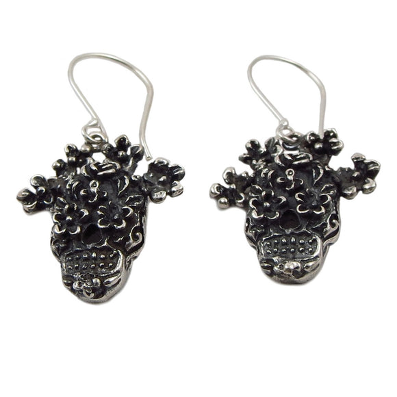 Day of the Dead 925 Sterling Silver La Catrina Skull with Flowers Earrings