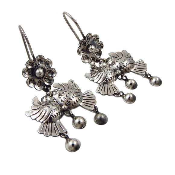 Lovebirds 925 Sterling Taxco Silver Bird and Flower Earrings