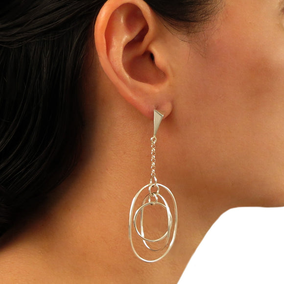 Long Triple Hoop and Chain 925 Sterling Silver Earrings