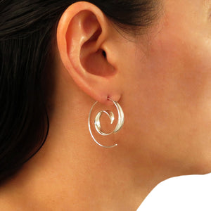 Solid Spiral 925 Sterling Silver Circle Threader Earrings Gift Boxed