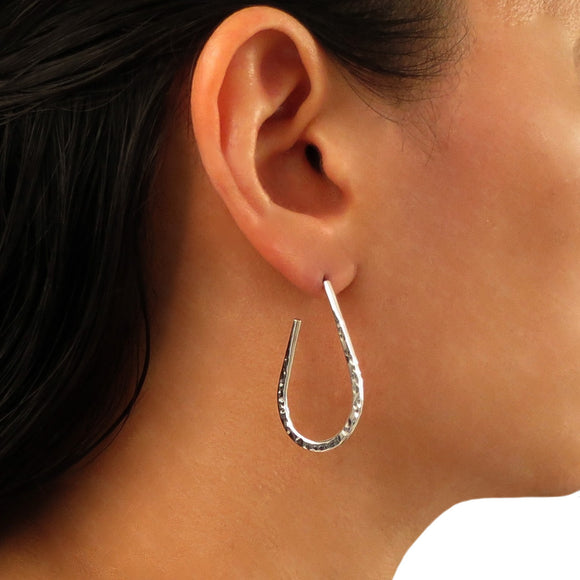 Hoops 925 Sterling Taxco Silver Curved Circle Hoop Earrings
