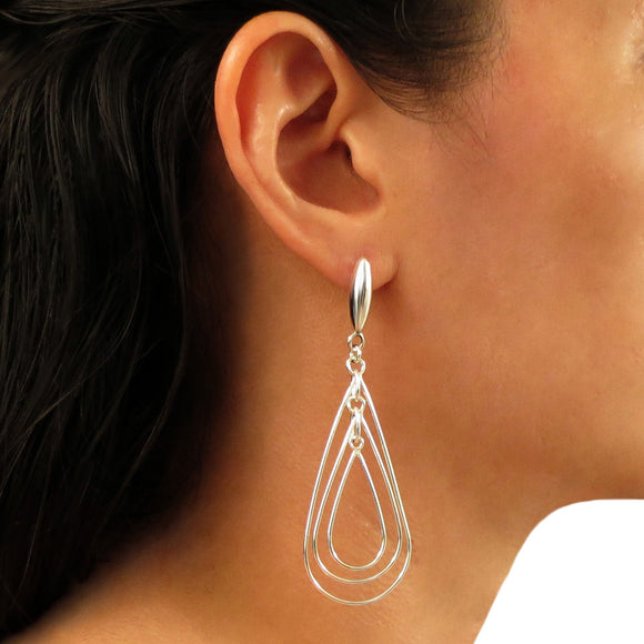 Long Triple Drop Hoop 925 Sterling Silver Earrings