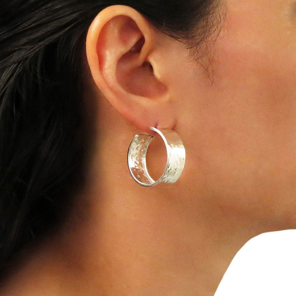 Textured Hoops 925 Sterling Silver Circle Earrings in a Gift Box
