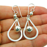 Long Hoop and Ball Bead 925 Sterling Silver Drop Earrings