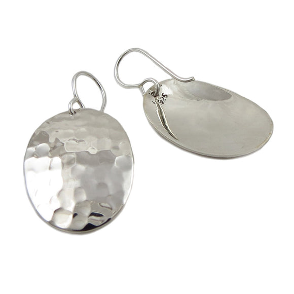 Oval 925 Sterling Silver Hammered Drop Earrings in a Gift Box