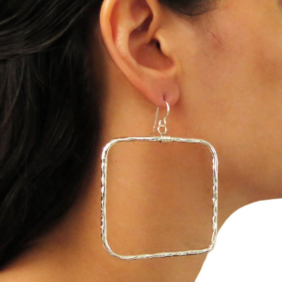 Large Hoops 925 Sterling Silver Hammered Square Hoop Earrings in a Gift Box