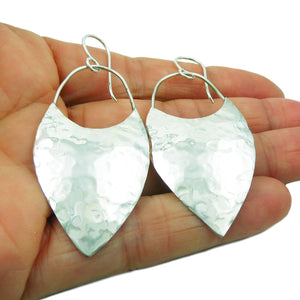 Long 925 Sterling Silver Hammered Drop Earrings in a Gift Box