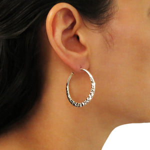Hoops 925 Sterling Silver Hammered Circle Hoop Earrings in a Gift Box