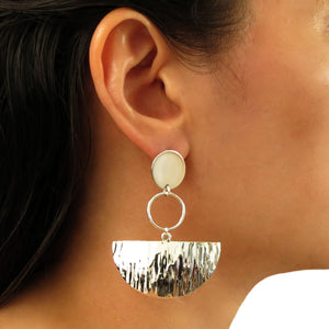 Large Semi Circle Hoop Drop 925 Sterling Silver Earrings