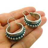 Hallmarked 925 Sterling Silver Textured Creole Hoop Earrings in a Gift Box
