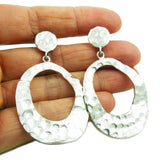 Heavy Textured Hoops 925 Sterling Silver Earrings