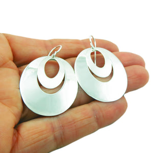 Hoops 925 Sterling Silver Polished and Brushed Earrings