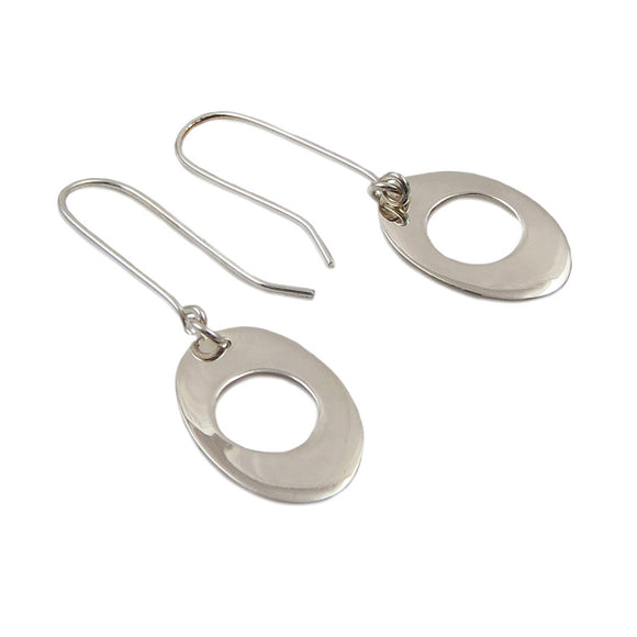 Long Threader 925 Sterling Silver Oval Drop Earrings