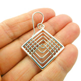 Geometric Square 925 Sterling Taxco Silver Earrings
