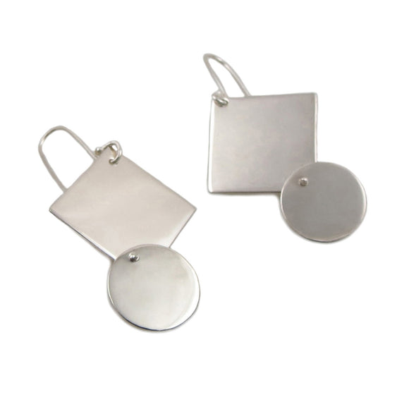Polished Square and Circle Drop 925 Sterling Silver Earrings