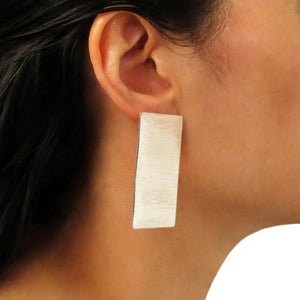 Large Modernist Brushed 925 Sterling Silver Statement Earrings