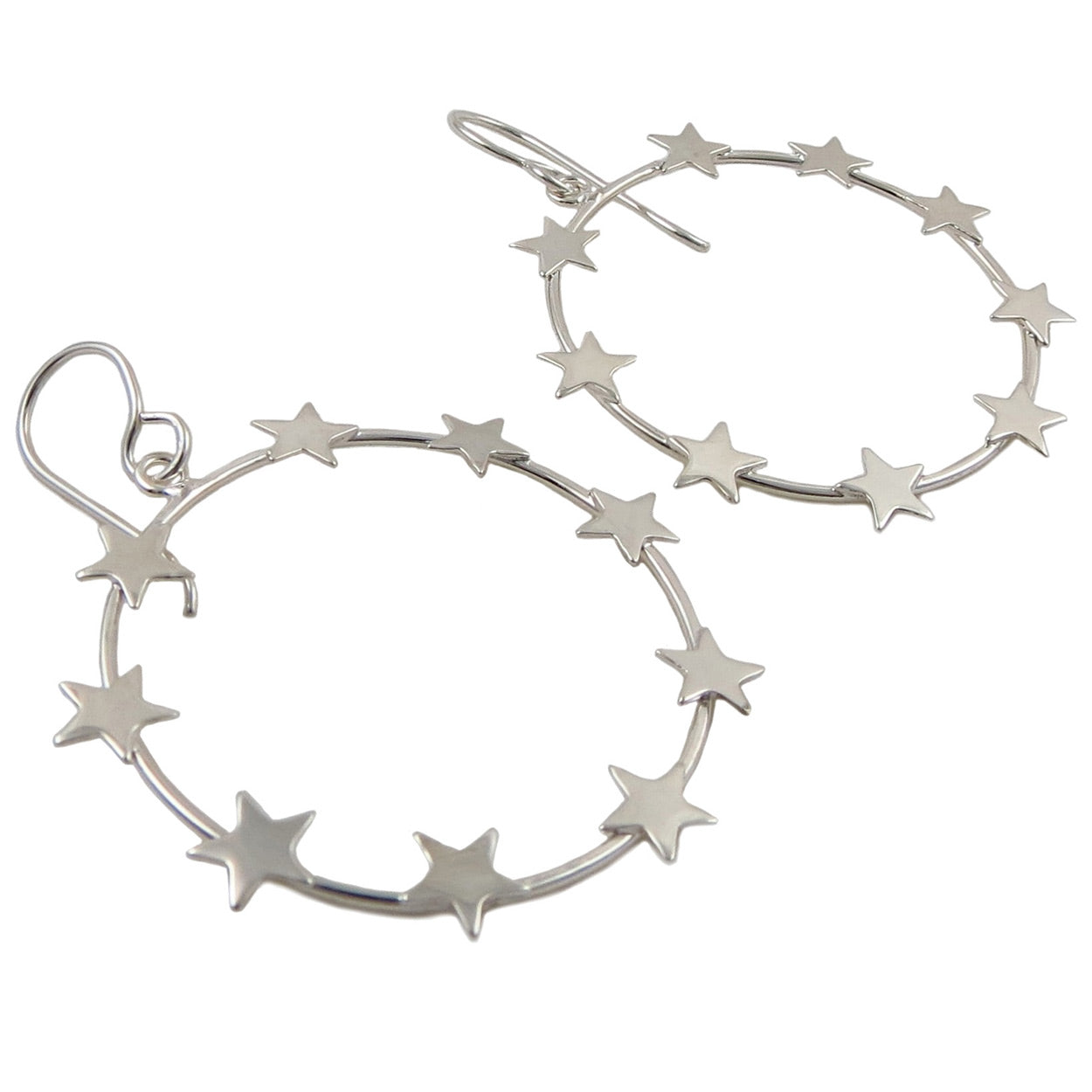 Celestial Star Hoop 925 Sterling Silver Circle Earrings