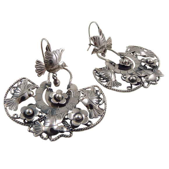 Lovebirds and Flowers 925 Sterling Silver Taxco Chandelier Earrings